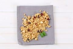 Morning granola with hazelnuts, raisins and cranberries Stock Image