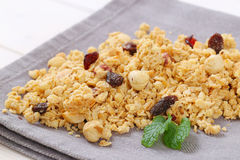 Morning granola with hazelnuts, raisins and cranberries Stock Photography