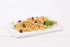 Morning granola with hazelnuts, raisins and cranberries Royalty Free Stock Images