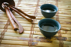 Morning green tea. Tea set Stock Photos