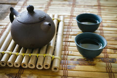Morning green tea. Tea set Royalty Free Stock Image