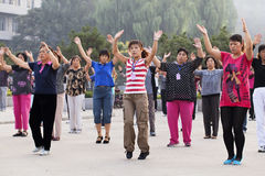 Morning group exercise in Zhaojiakou, China Royalty Free Stock Photography