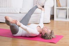 Morning gymnastic at home Royalty Free Stock Photo
