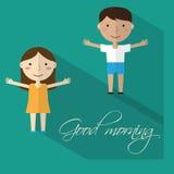 Morning gymnastics. Flat set icon. Stock Image