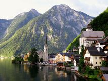 Morning in Hallstatt city Stock Image
