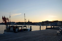 Morning at the harbor. This is the southern part of the harbor in Sonderborg, Denmark, seen before sunrise Stock Photography