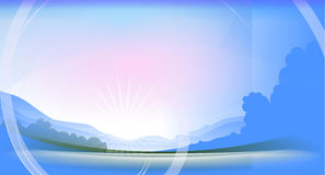 Morning has broken. Illustration of an idyllic morning landscape in blue colors Stock Image