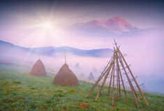 Morning with haystacks Royalty Free Stock Photo