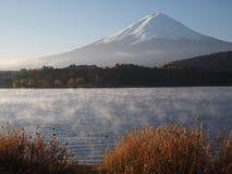 Morning haze and Mount Fuji. From Lake Kawaguchi Royalty Free Stock Image