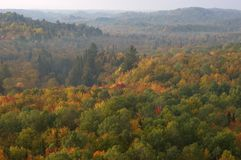Morning Haze Over Forest of Fall Colors stock photos