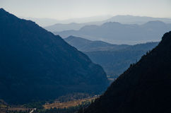 Morning haze over the mountains. Scenic view over the valley in the morning Royalty Free Stock Photo