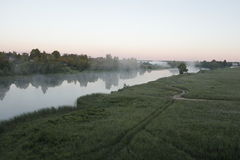 Morning haze. Thick fog, country  fishing Stock Image
