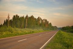 Morning,highway,bus Royalty Free Stock Photography