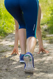 Morning hiking woman legs walking on trail. Stock Photos