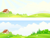 Morning hills banners. Illustration of a beautiful hilly countryside Royalty Free Stock Photos