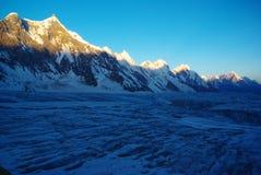 Morning on hispar glacier. Who is situated in remote karakoram range Royalty Free Stock Photos