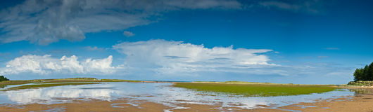 Morning at Holkham Beach Norfolk. With the tide just going out royalty free stock image