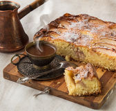 Morning hot coffee with a portion of the Danish apple cake Stock Photos