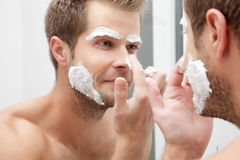 Morning hygiene in the bathroom Stock Photography