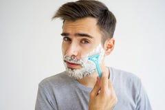 Guy morning hygiene Royalty Free Stock Image