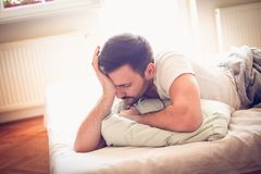 It is morning I need stand up. Young man. royalty free stock photography