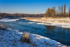 Morning ice drift on a small river Stock Photos