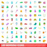 100 morning icons set, cartoon style. 100 morning icons set in cartoon style for any design illustration stock illustration