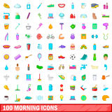 100 morning icons set, cartoon style. 100 morning icons set in cartoon style for any design vector illustration Stock Image