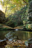 Morning in Illinois Canyon. Sunlight entering Illinois Canyon on a beautiful Autumn morning.  Starved Rock State Park, Illinois, USA Stock Image