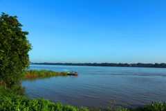 Morning image. The river , Yamuna at Allahabad in India Royalty Free Stock Photo