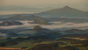 Morning inverse landscape. In hill stock photography