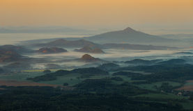 Morning inverse landscape. In hill stock photo