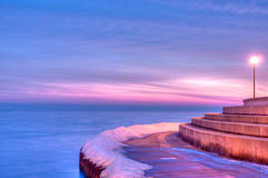Morning Jog Along Lake Michigan in Chicago. Royalty Free Stock Image