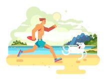 Morning jog on beach with dog stock illustration
