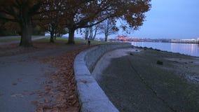 Stanley Park Morning Jog, Vancouver 4K. UHD. A morning jog on the Stanley Park seawall. Vancouver, British Columbia. 4K. UHD stock footage