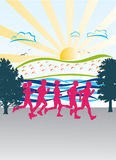 Morning jogging on a bright, sunny day Royalty Free Stock Images