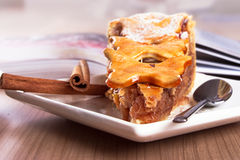 Apple pie. Morning joy in  delicious apple pie Royalty Free Stock Photo