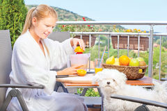 Morning juice on terrace. Woman making morning juice on terrace with her dog royalty free stock photography