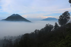 Morning at Kawah Ijen. Gunung Raung taken from Kawah Ijen royalty free stock images