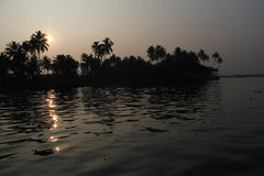 Sun rise in Kerala Backwaters Stock Image