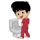 In the morning,kid peeing in a bathroom.vector and illustration. Royalty Free Stock Photography