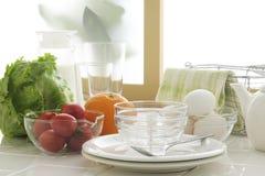 Morning kitchen. Food stuffs,preparing braekfast in kitchen Royalty Free Stock Photography