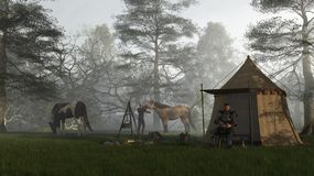 Morning in the Knights Camp. Medieval knight in fifteenth century Milanese armour and his squire in their camp at early morning, 3d digitally rendered Royalty Free Stock Photos