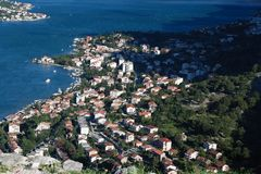 Morning in Kotor. Top view of the city and the bay Royalty Free Stock Photos