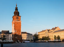 Morning in Krakow main market square Royalty Free Stock Photo