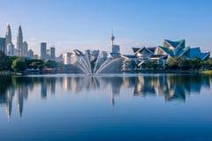 Morning in Kuala Lumpur. Malaysia. Kuala Lumpur. Lake Titivangsa, skyscrapers and Petronas Twin Towers. Morning stock photography