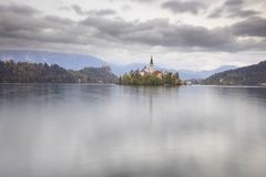 Morning on Lake Bled royalty free stock photography
