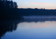 Morning lake fog landscape Royalty Free Stock Photo