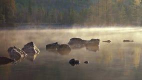 Morning lake and fog after sunrise. Morning lake and after sunrise. Fog goes above lake surface stock footage