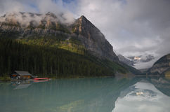 Morning at Lake Louise in Canadian Rockies Royalty Free Stock Images